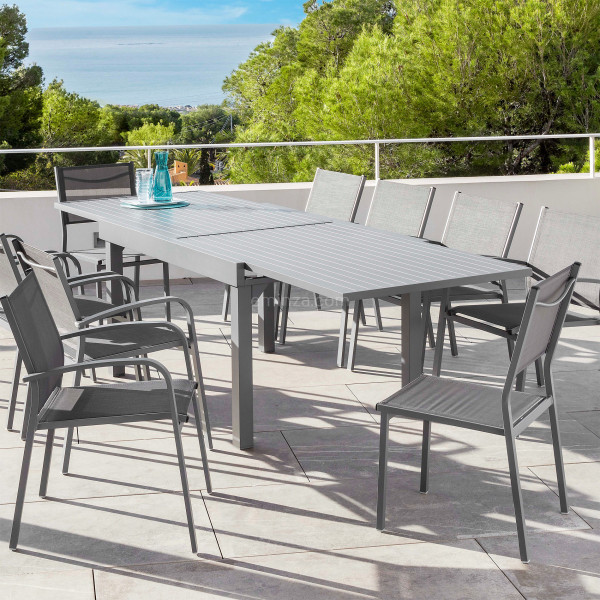 table de jardin extensible 12 places aluminium murano 320 x 100 cm gris ardoise