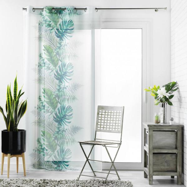 voilage 140 x 240 cm tropical chic vert