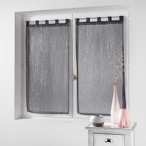 paire de voilages 90 x 120 cm filiane gris anthracite