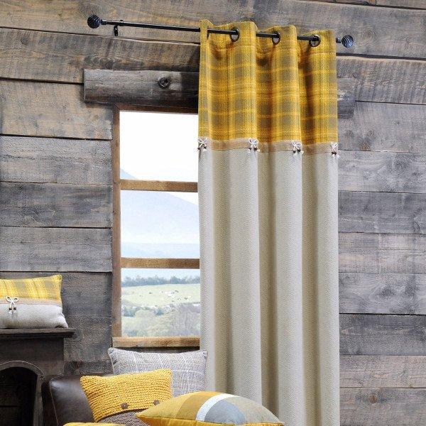 rideau tamisant 140 x 260 cm arnold jaune moutarde