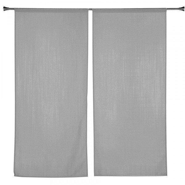 paire de voilages 45 x 120 cm etamine givree gris antracite
