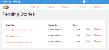 pending learning stories page
