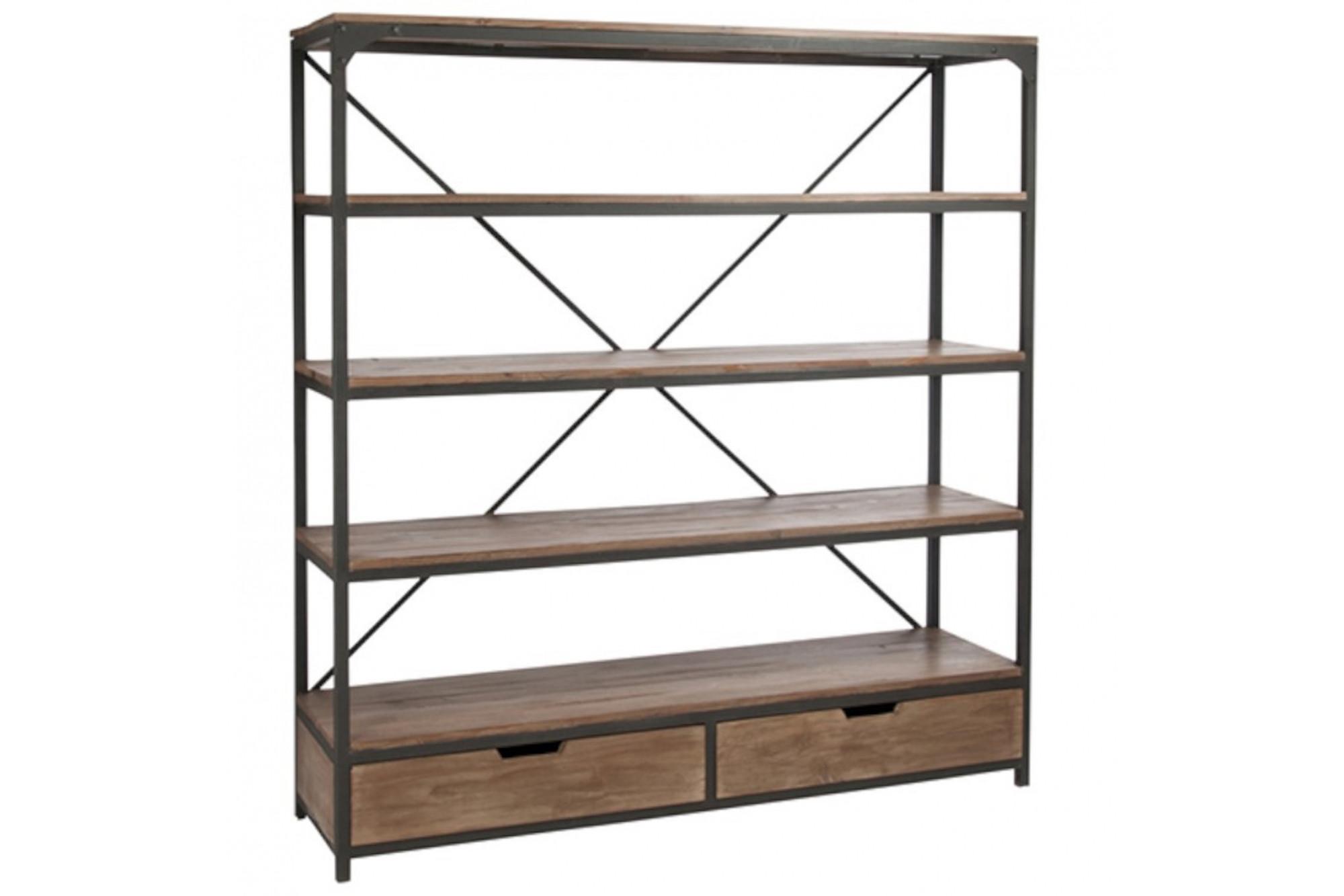 bibliotheque industrielle allen 2 tiroirs bois metal hellin