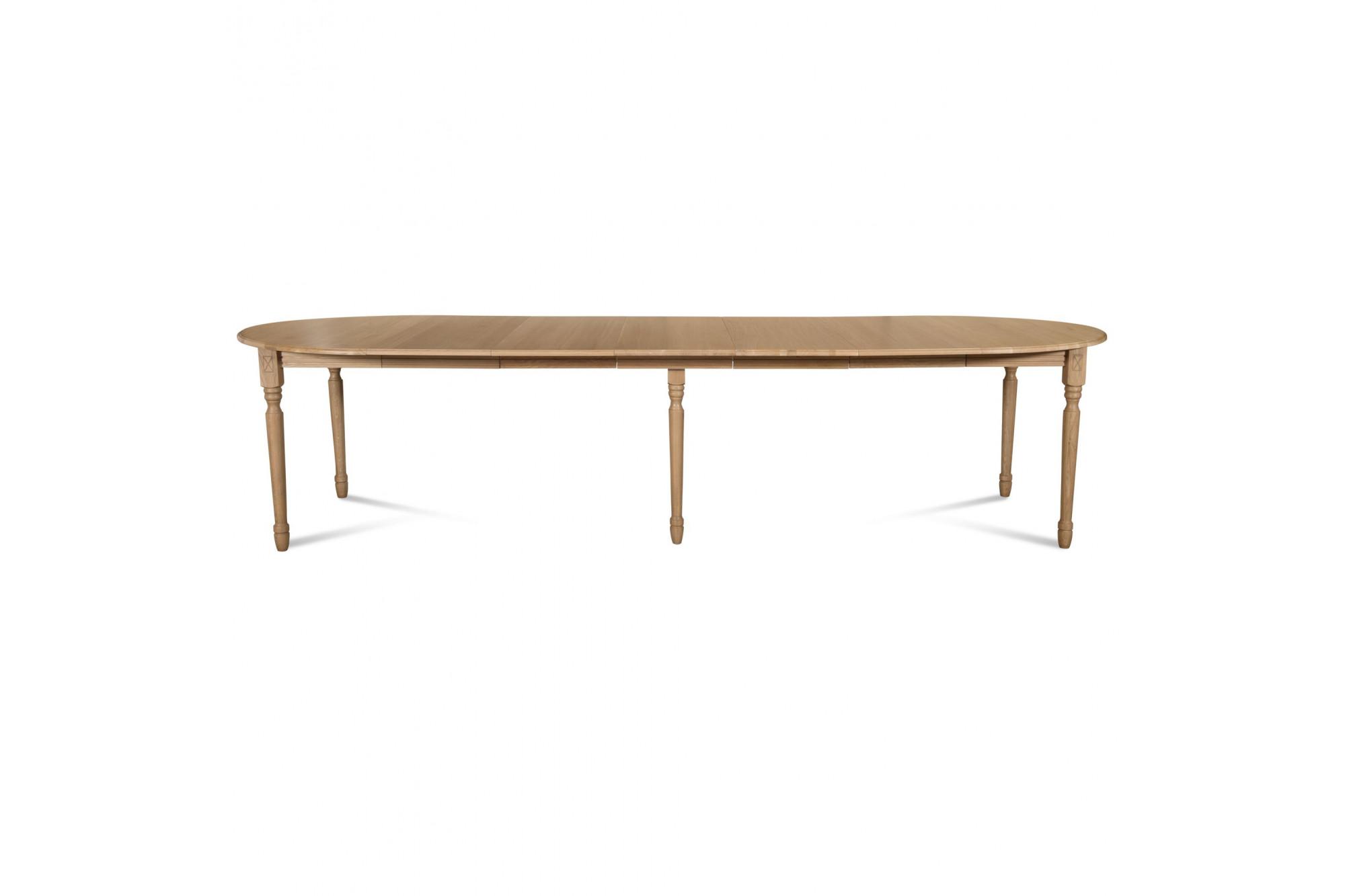 table ronde victoria 6 pieds tournes 115 cm 3 rallonges bois