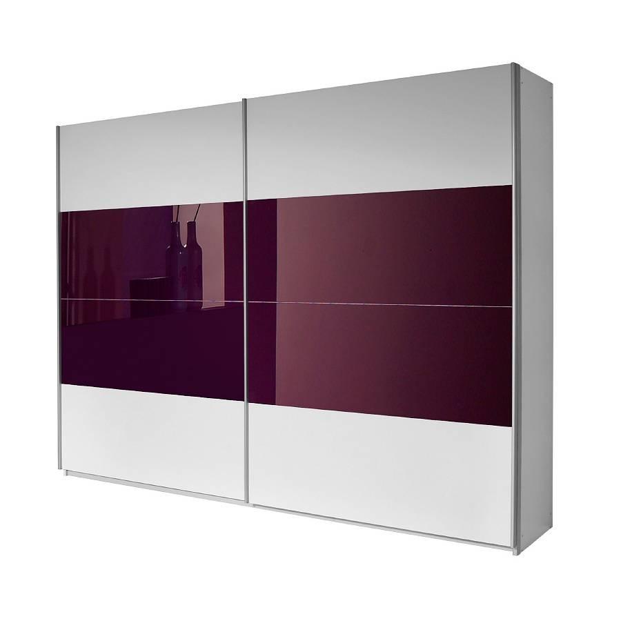 armoire a portes coulissantes quadra blanc alpin couleur mure 181 x 230 cm