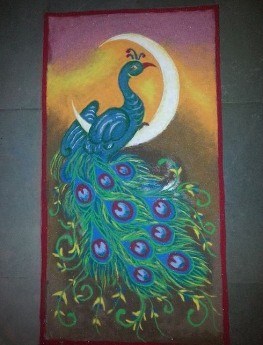 Peacock Competition Rangoli Design