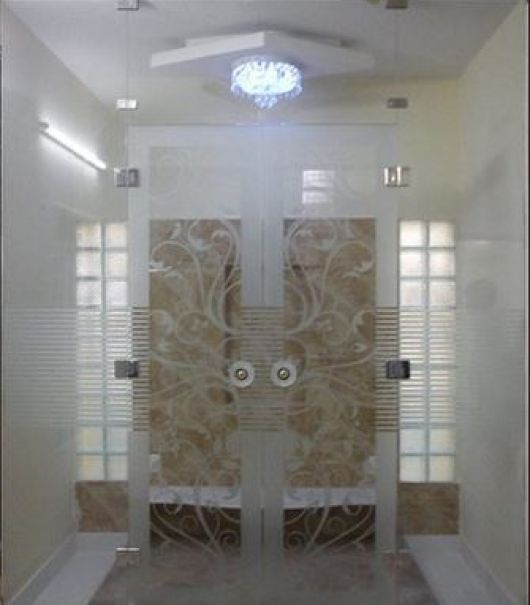 Pooja Room Door Designs in Glass
