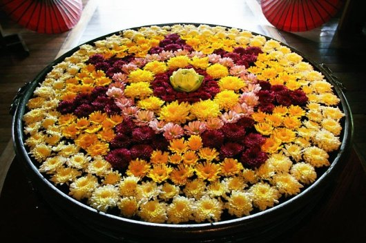 Colourful Water Rangoli with Flowers