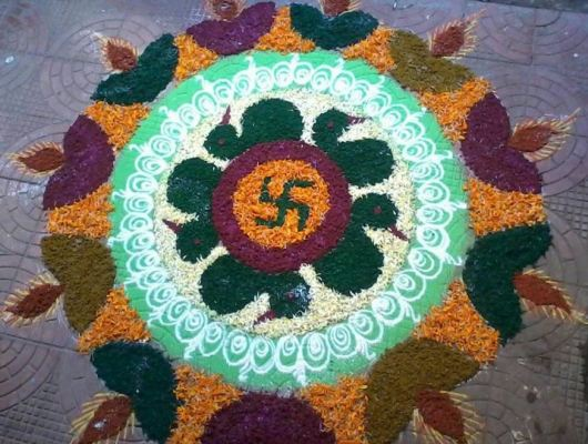 Free Hand Rangoli Designs with Flowers