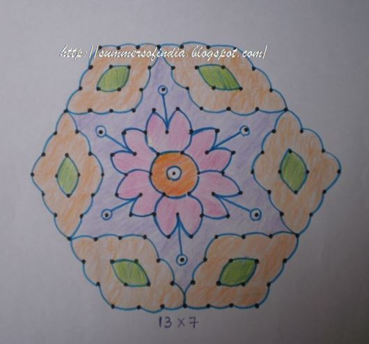 Rangoli Designs with Dots for Sankranti