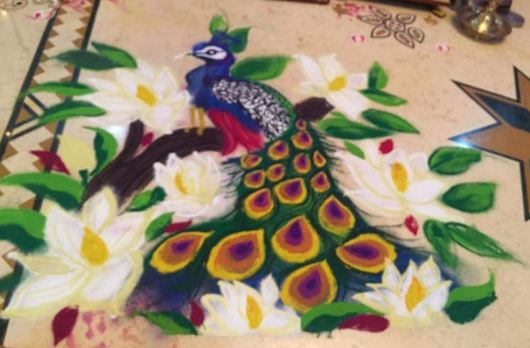 Peacock Rangoli Designs for Diwali Competition
