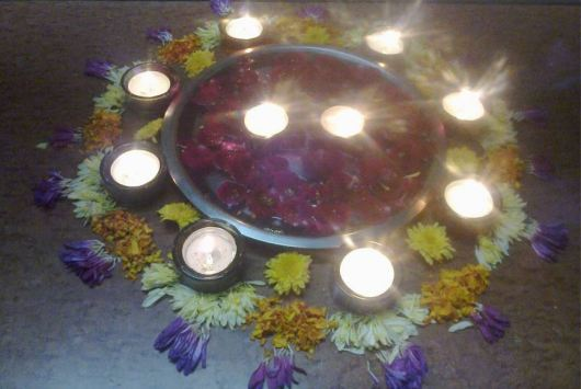 Diwali Rangoli Design with Flowers