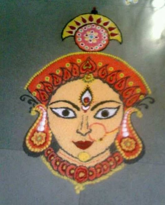 Rangoli Designs of Durga Maa