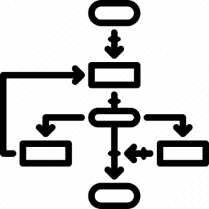 Algorithm, flow diagram, flowchart, workflow icon