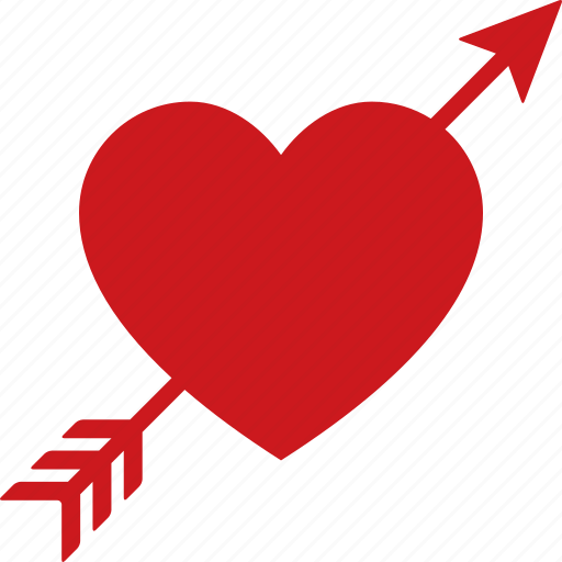 Download Arrow, cupid, heart, love, lovestruck, red, through icon