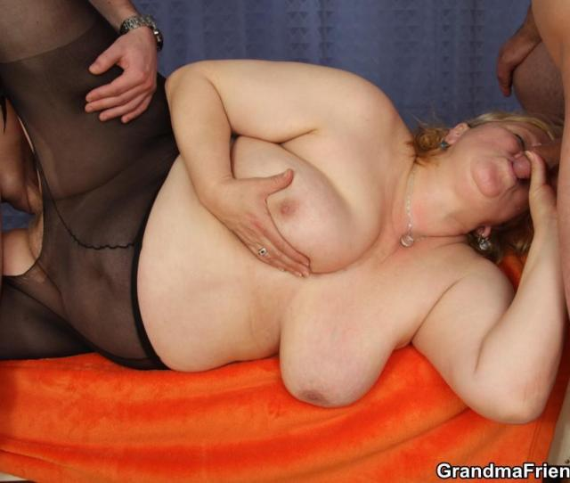 Old Blonde Lady With Black Pantyhose Slammed Hard In Threesome Sex