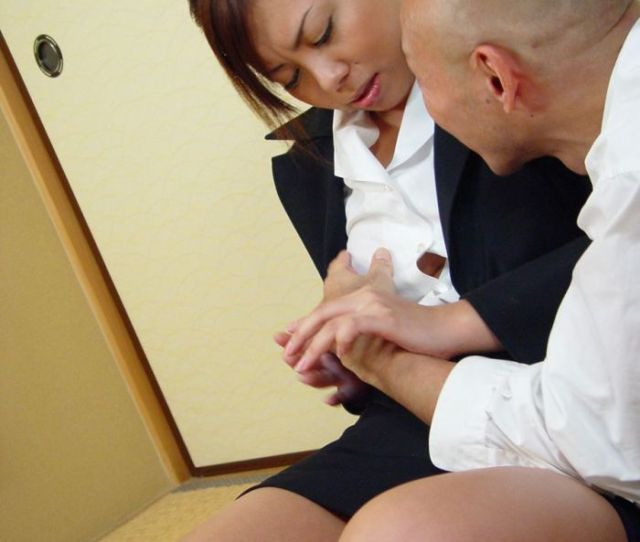 Japanese Corporate Lady Sucks Long Dick Until Cum Swallows