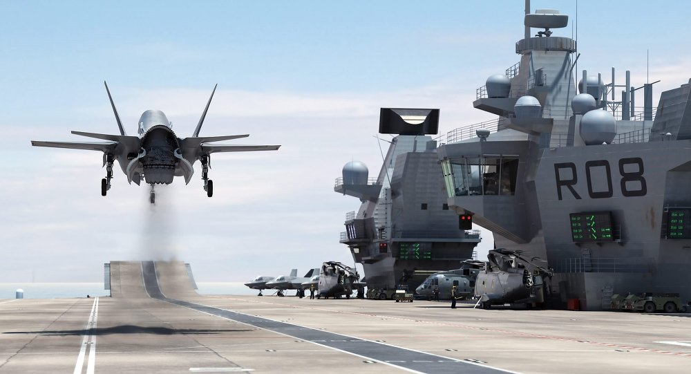A F-35 Lightning II Landing on HMS Queen Elizabeth