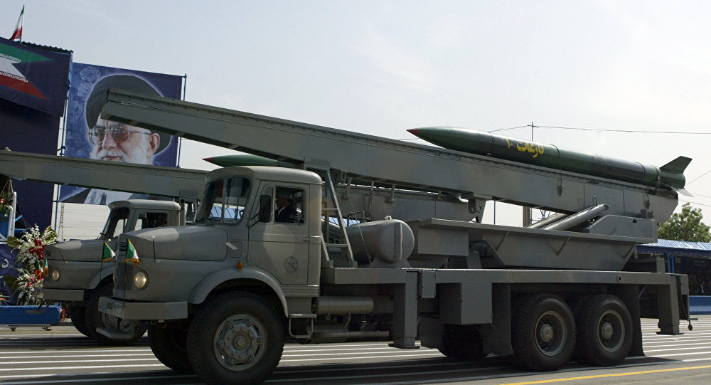 Iranian Nazeat 10 ground-to-air missile is displayed during the army day military parade, outside the mausoleum of the late founder of Islamic republic, Ayatollah Khomeini (poster) in Tehran. (File)