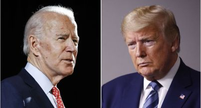 FILE - In this combination of file photos, former Vice President Joe Biden speaks in Wilmington, Delaware, on 12 March 2020, left, and President Donald Trump speaks at the White House in Washington on 5 April 2020