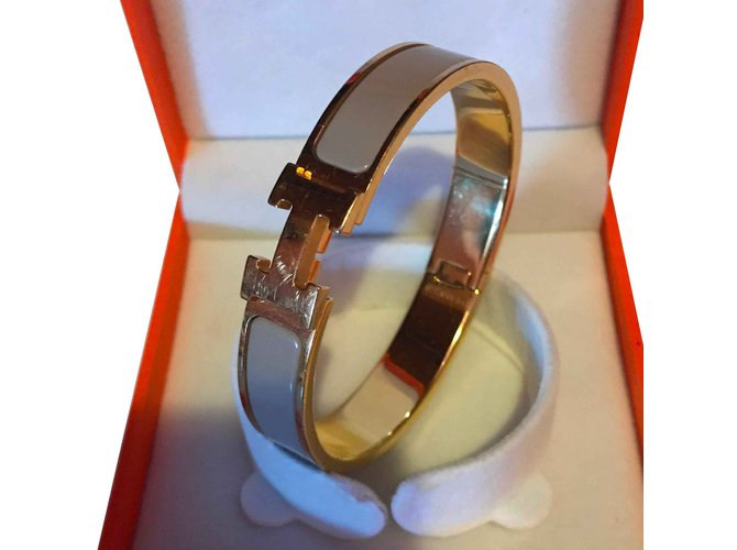 hermes clic clac h gold plated bracelet and enamel sand or taupe
