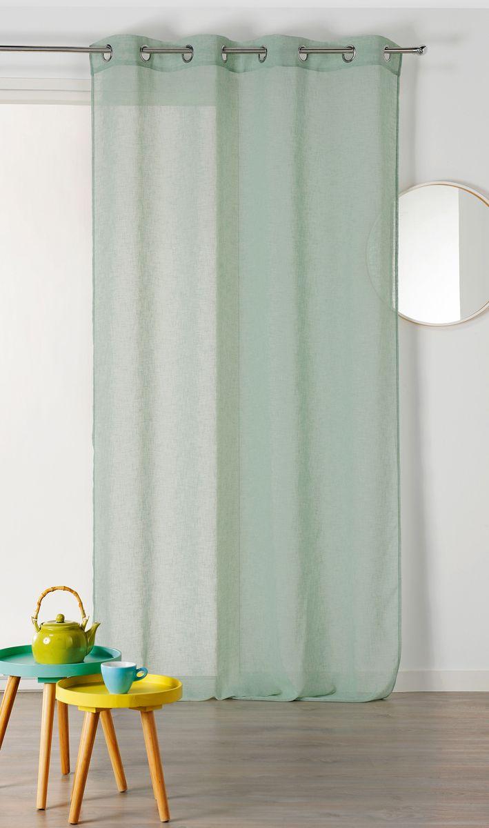 voilage vert de gris effet lin caraz 140x240 cm