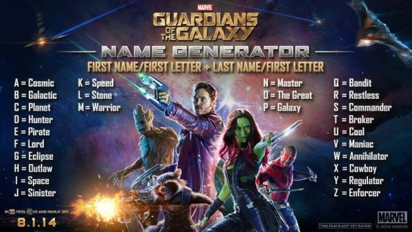Guardians of the Galaxy: What's YOUR Guardian Name?