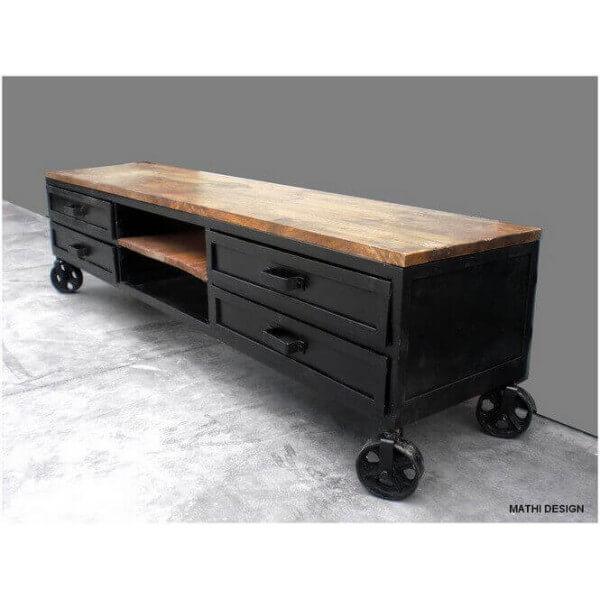 meuble tv industriel sur roues