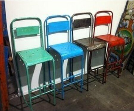 tabouret chaise haute metal vintage