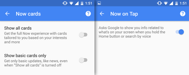 Google Now sin google cards