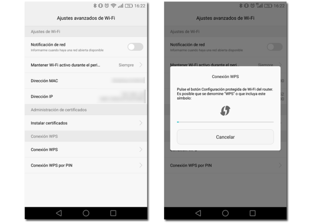 conexion WPS android