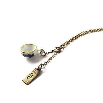 Drink Me Silver And Ceramic Tea Cup Necklace