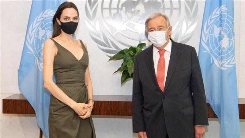 Angelina Jolie ileBM yinel Sekreteri yeminonio Guterres New York'ta görüştü.