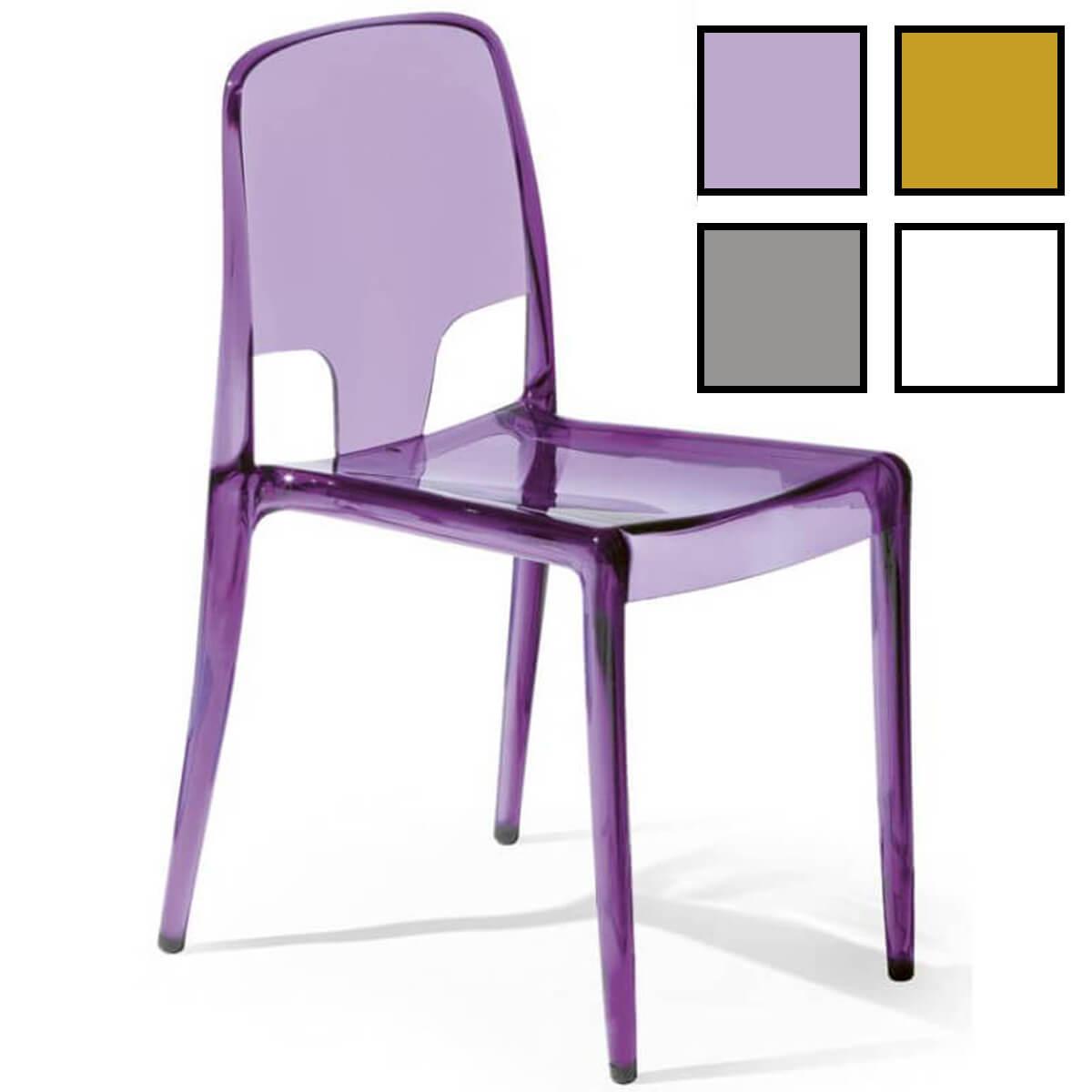 jinju chaise design en plastique transparent colore violette