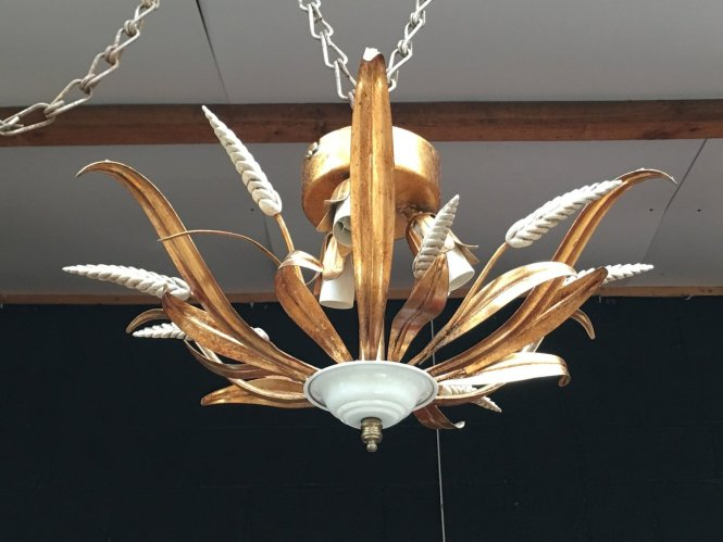 Italian Wrought Iron Wheat Chandelier From Masca 1960s