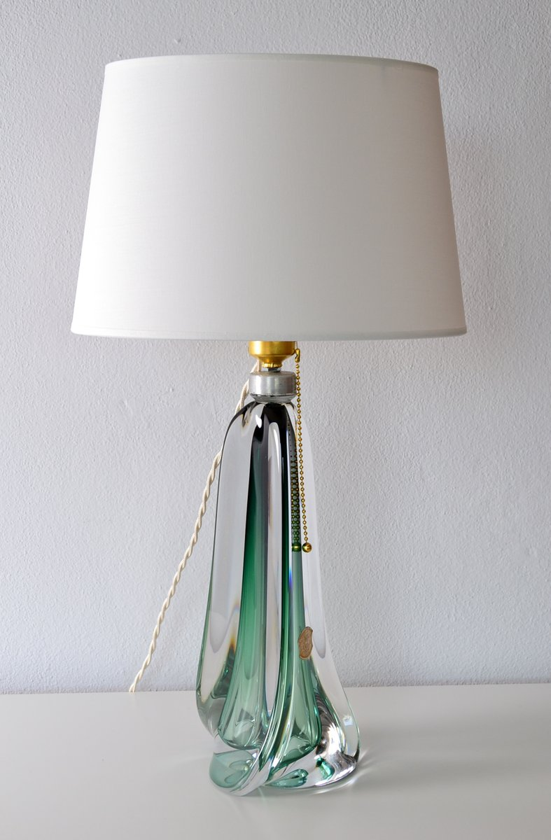 Mid Century Belgian Emerald Green Crystal Glass Table Lamp From Val St Lambert For Sale At Pamono