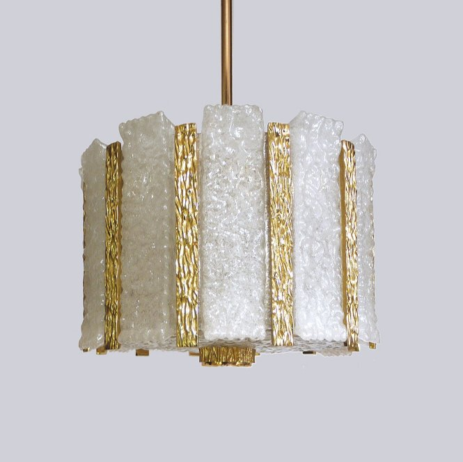 Gold Plated Frosted Ice Glass Drum Chandelier By J T Kalmar For 1960s