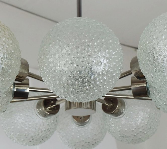 Vintage Ten Globe Metal Bubble Glass Sputnik Orbit Chandelier