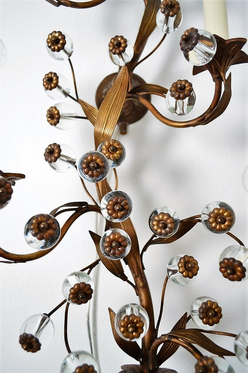 Murano Glass Flower and Brass Decorative Wall Sconce ... on Flower Wall Sconces id=48801