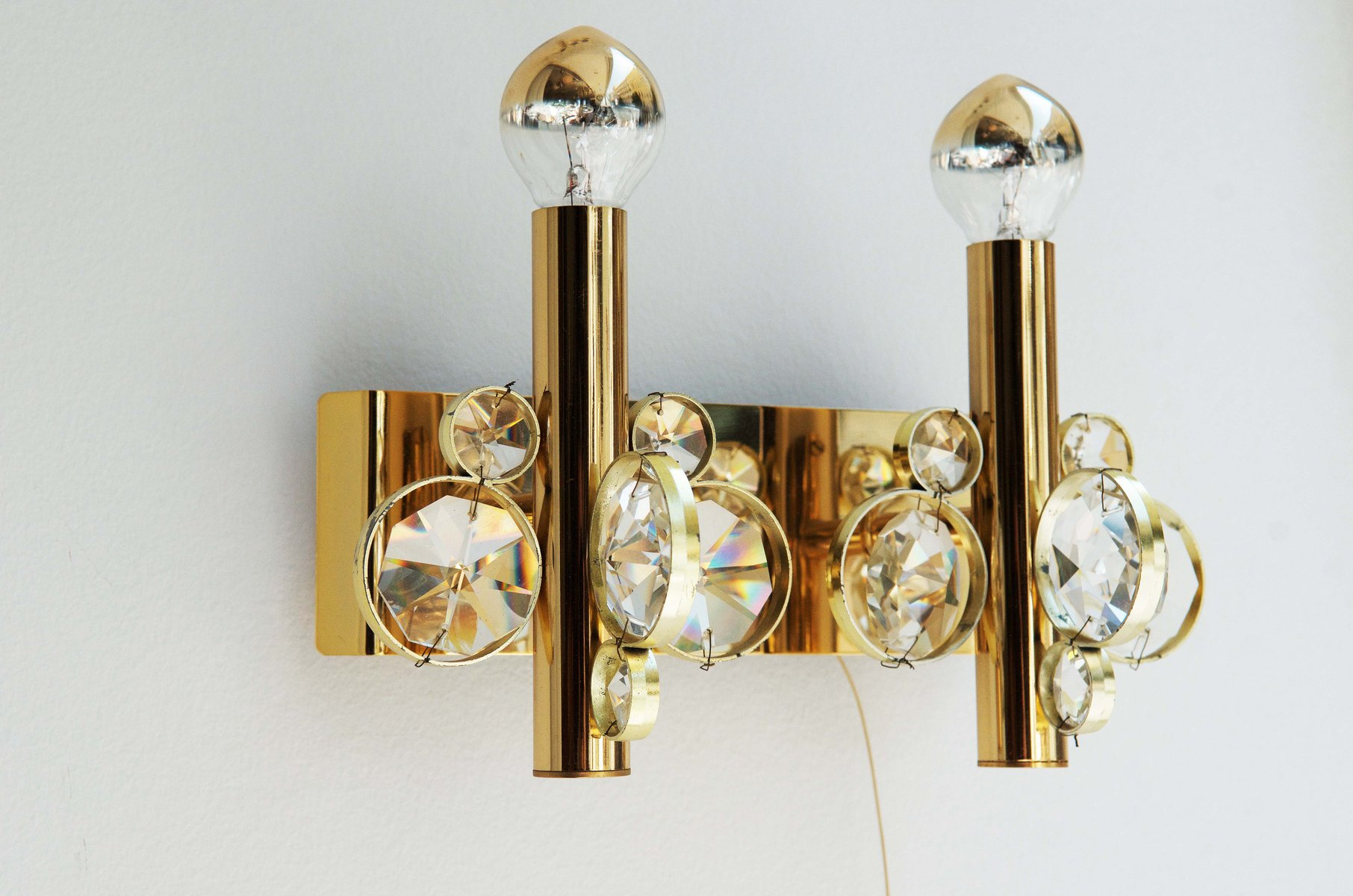 Vintage Cut Crystal Wall Sconce for sale at Pamono on Vintage Wall Sconces id=73296