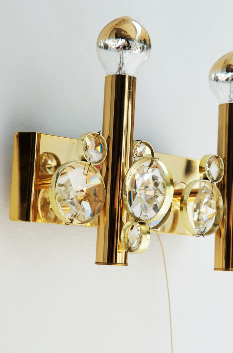 Vintage Cut Crystal Wall Sconce for sale at Pamono on Vintage Wall Sconces id=61832