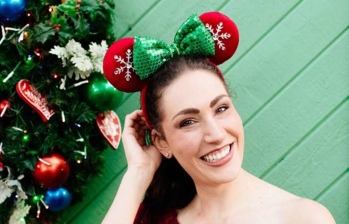 Holiday Minnie Snowflake Ears Headband