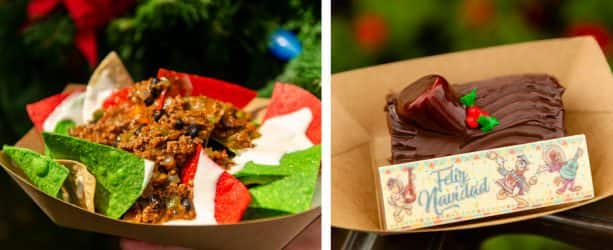 Feliz Navidad Nachos and Three Caballeros Spiced Chocolate Yule Log at Pecos Bill Tall Tale Inn & Café for Mickey's Very Merry Christmas Party at Magic Kingdom Park