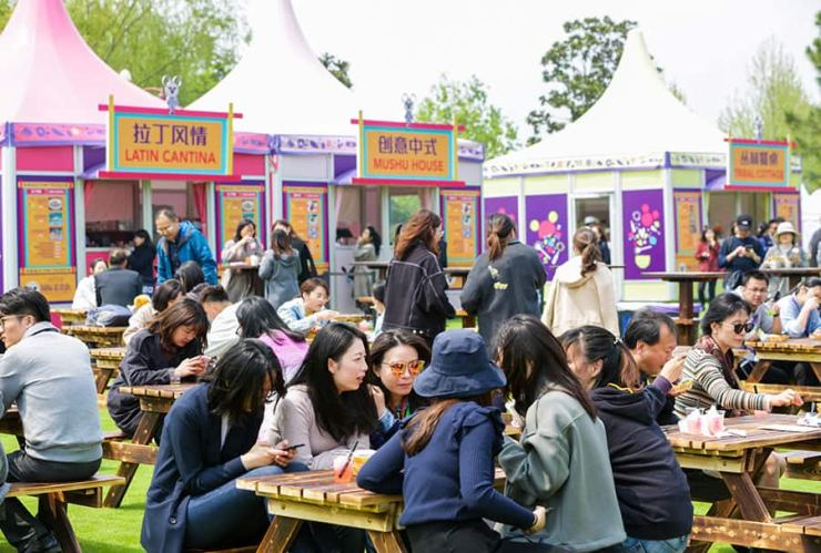 International food market booths,  International Food & Drink Fest at Shanghai Disney Resort