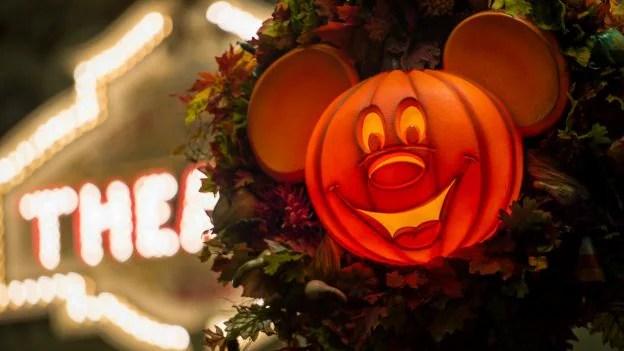 Pumpkin Mickey decoration for Fall at Magic Kingdom Park