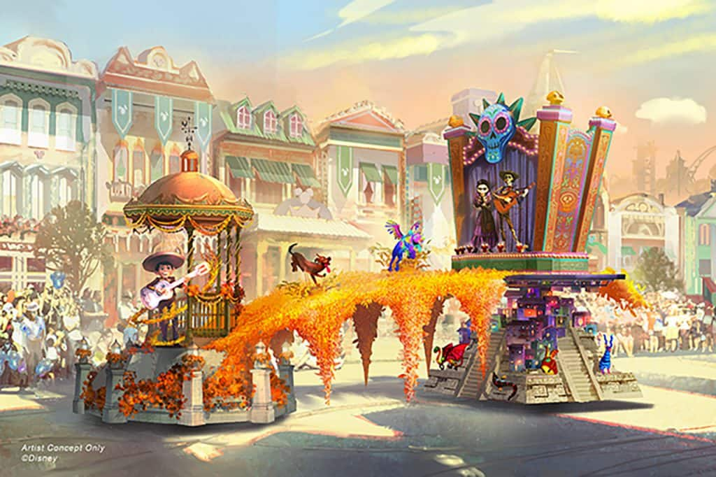 Concept Art for Coco Float in Magic Happens - a brand new nighttime parade coming to the Disneyland Park