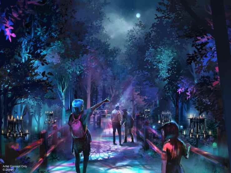 Artist rendering of Villains Grove walk-through experience at Oogie Boogie Bash – A Disney Halloween Party at Disney California Adventure park