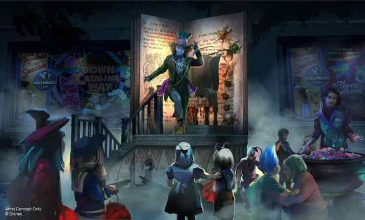 """Artist rendering of Immersive Treat Trail with Mad Hatter from Tim Burton's """"Alice in Wonderland"""" at Oogie Boogie Bash – A Disney Halloween Party at Disney California Adventure park"""