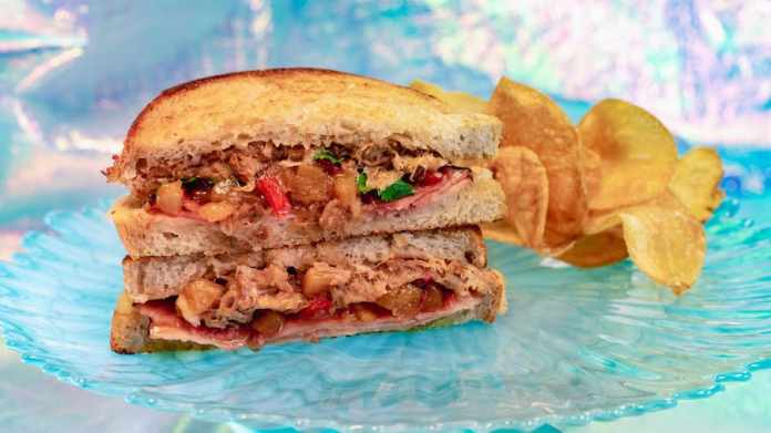 Island Pork Toasted Sandwich from Jolly Holiday Bakery Cafe for 'Magic Happens' Parade at Disneyland Park