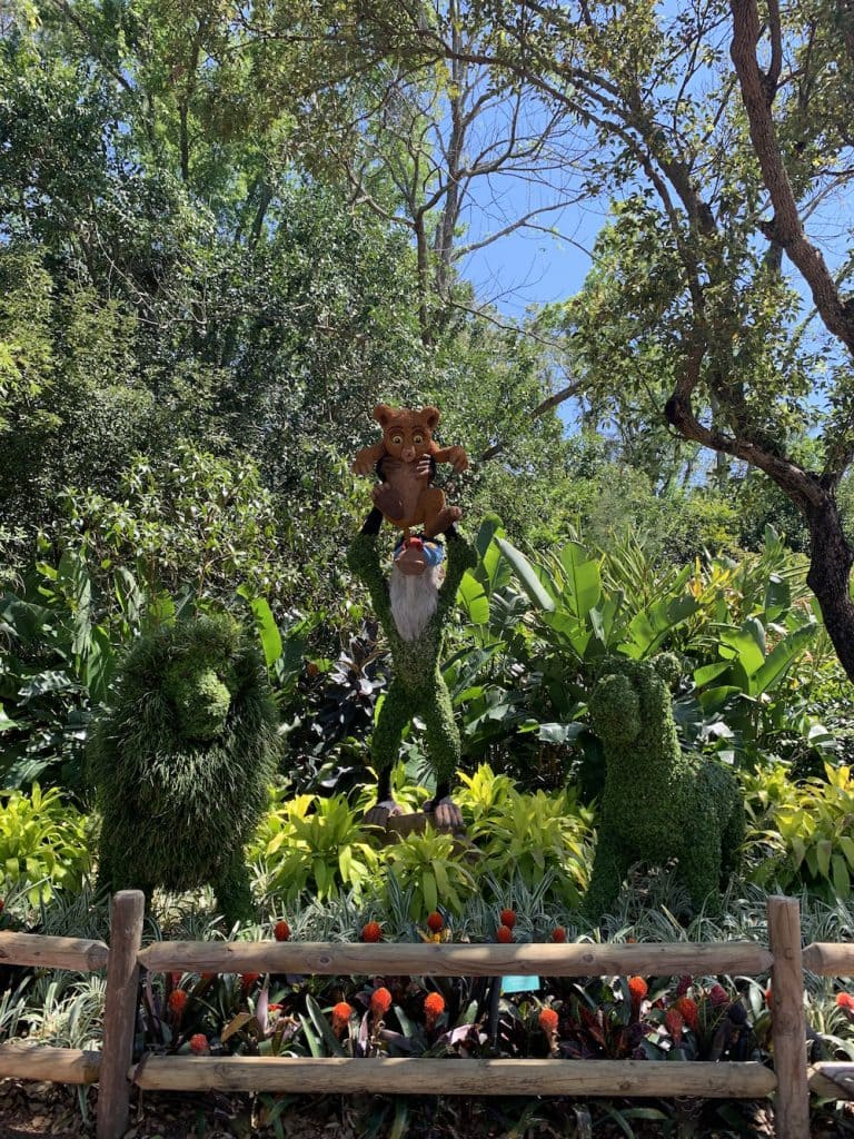 The Lion King topiaries at Walt Disney World Resort